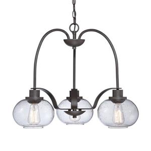 Cascadia Lighting Trilogy 48-in Brushed Nickel 5-Light Transitional Seeded Shaded Chandelier