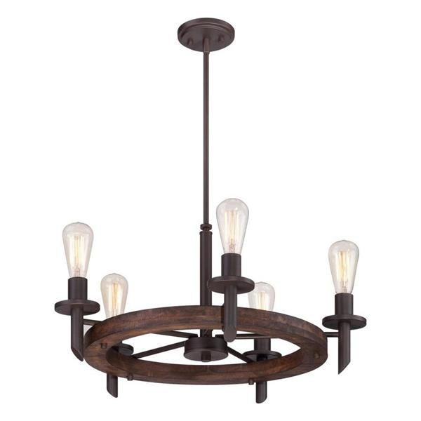 Quoizel Tavern 36-in Western Bronze 3-Light Transitional Candle Chandelier
