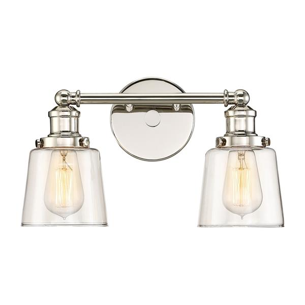 Quoizel Union 15-in x 9-in Polished Nickel 2-Light Bell Vanity Light