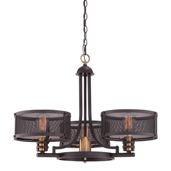 Quoizel Union Station 28-in Western Bronze 3-Light Glass Shaded Chandelier