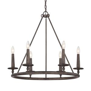 Quoizel Voyager 28-in Palladian Bronze 6-Light Transitional Tinted Glass Candle Chandelier