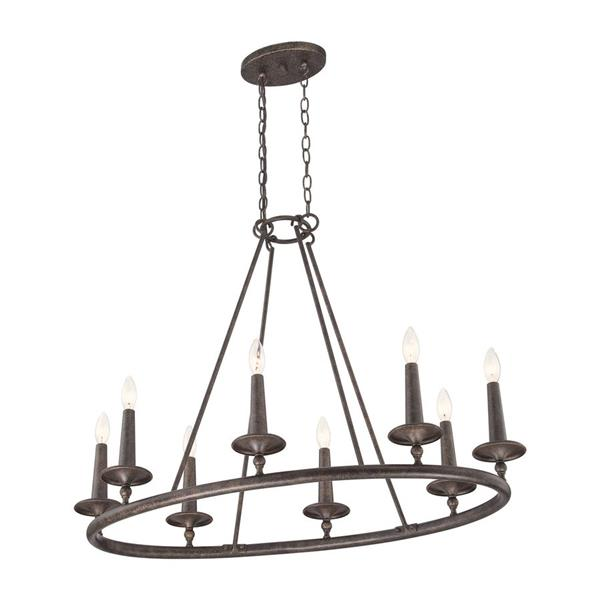 Quoizel Voyager 36-in Malaga 8-Light Rustic Candle Chandelier