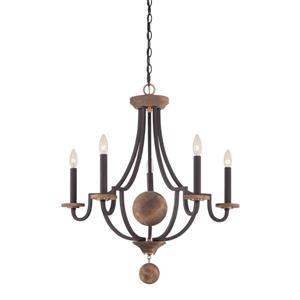 Quoizel 28-in Brushed Nickel 5-Light Wyndmoor Seeded Glass Candle Chandelier