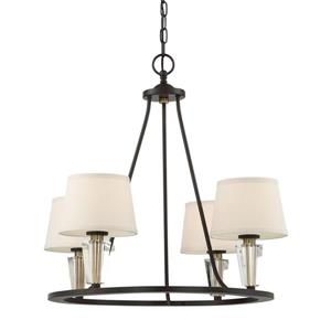 Quoizel Warden 27-in Western Bronze 4-Light Shaded Chandelier