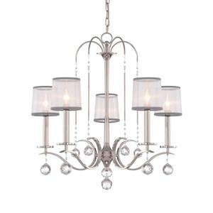 Quoizel Whitney 28-in Western Bronze 5-Light Imperial Silver Shaded Chandelier