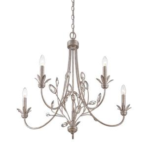 Quoizel Wesley 26-in Brushed Nickel 5-Light Italian Fresco Vintage Candle Chandelier