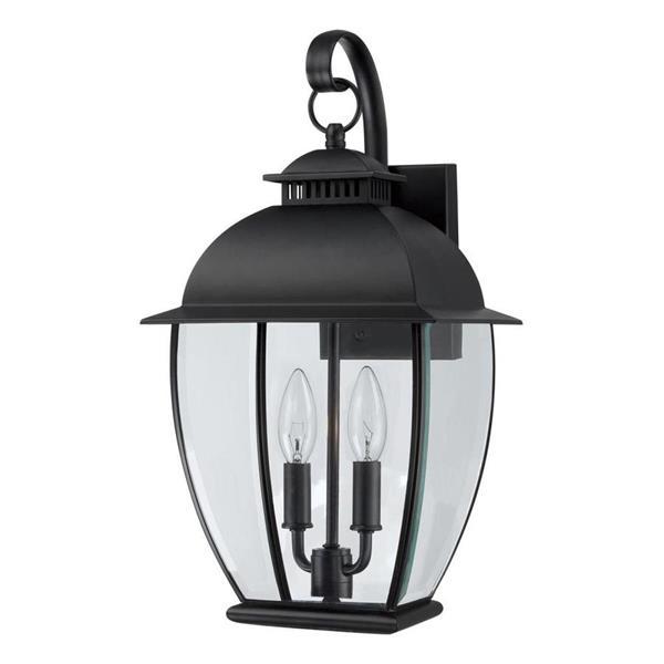 Quoizel Bain 18-in Mystic Black Candelabra Base Outdoor Wall Light