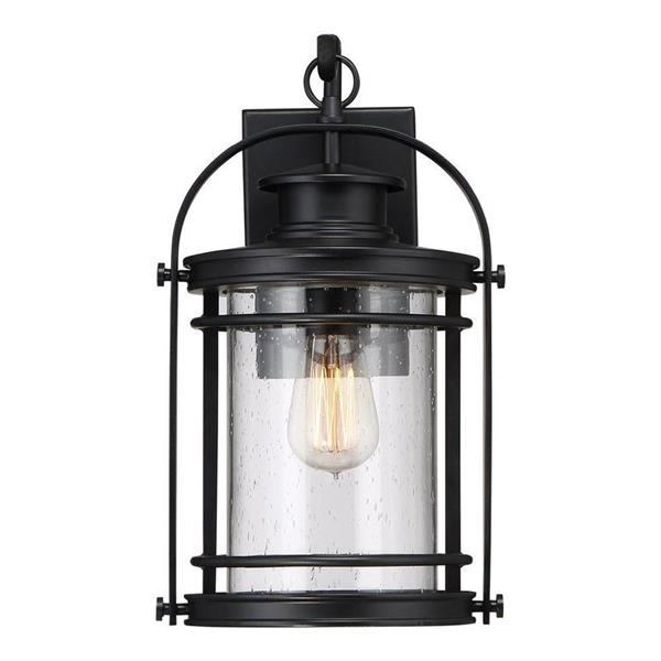 Quoizel Booker 15-in Mystic Black  Medium Base Outdoor Wall Lantern