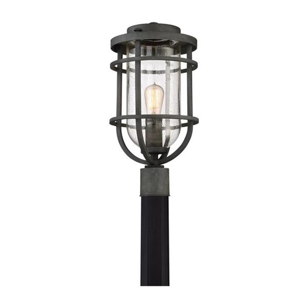 Quoizel Boardwalk 19-in Mottled Black Post Light