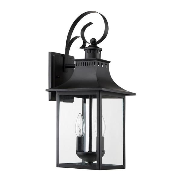 Quoizel Chancellor 19-in Mystic Black Candelabra Base 2-Light Outdoor Wall Sconce