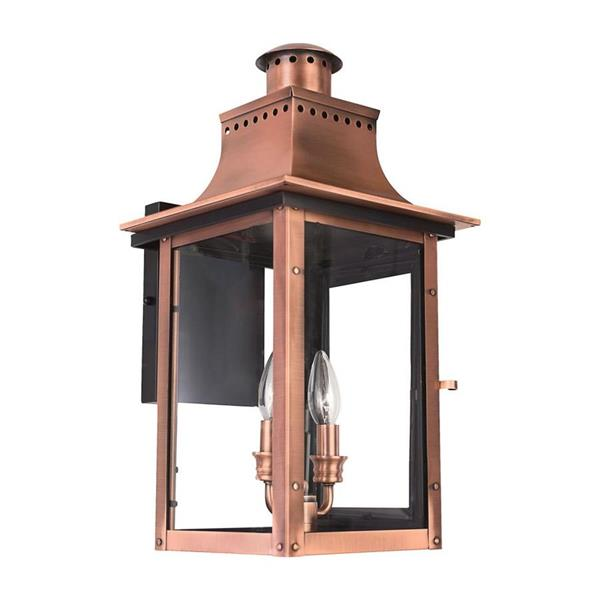 Quoizel Chalmers 19-in Aged Copper Candelabra Base 2-Light Outdoor Wall Sconce