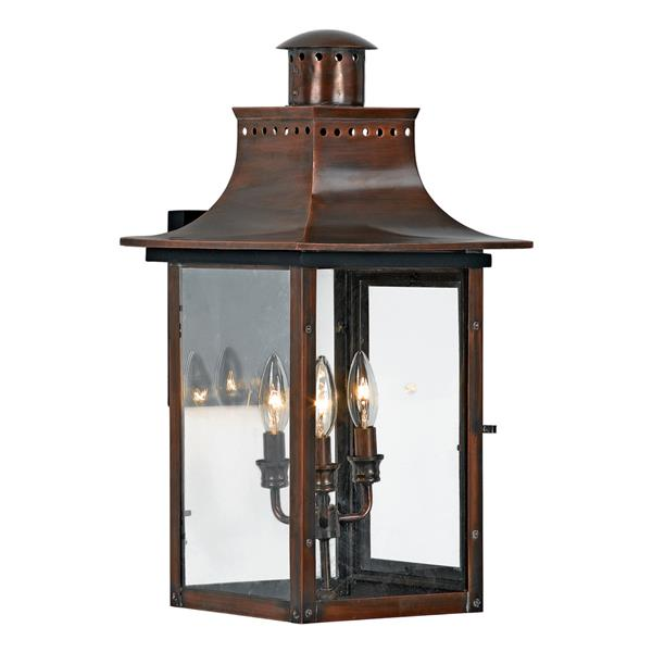 Quoizel Chalmers 23-in Aged Copper Candelabra Base 3-Light Outdoor Wall Sconce