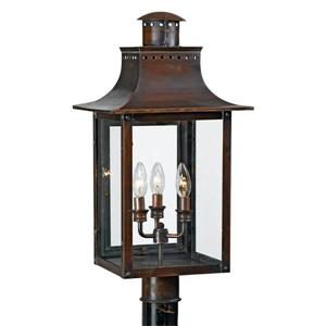 Quoizel Chalmers 26-in Aged Copper Post Light