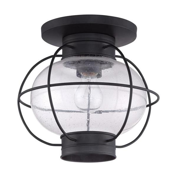 Quoizel Cooper 11-in Mystic Black 1-Light Outdoor Flush Mount Light