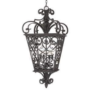 Quoizel Fort Quinn 19-in Marcado Black Traditional Lantern Pendant Lighting