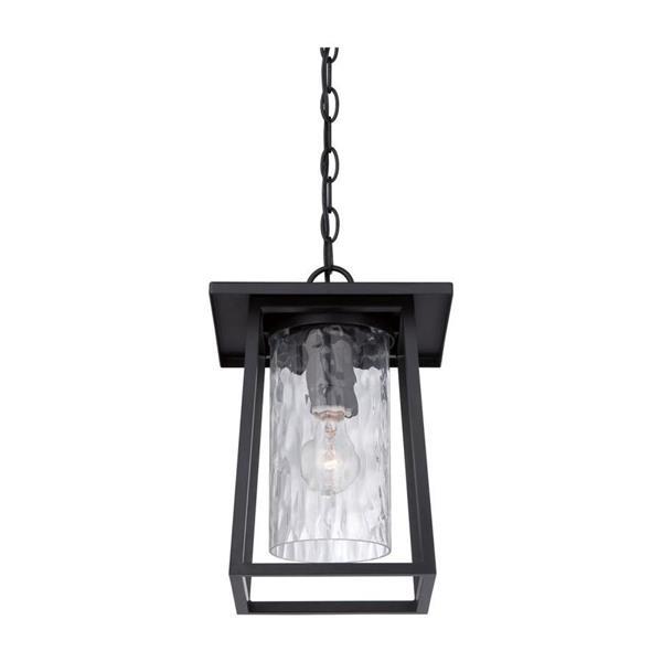 Quoizel Lodge Mystic Black Transitional Clear Glass Lantern Pendant