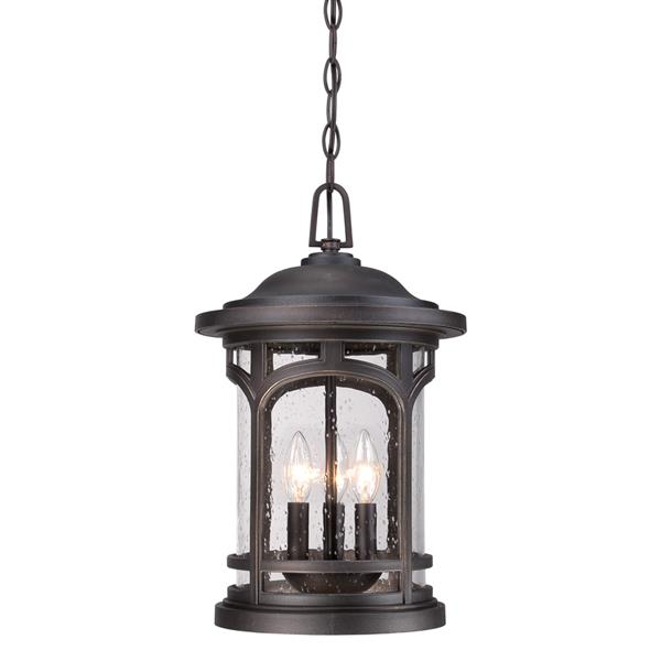 Quoizel Coastal Armour 11-in Palladian Bronze Traditional Lantern Pendant Lighting