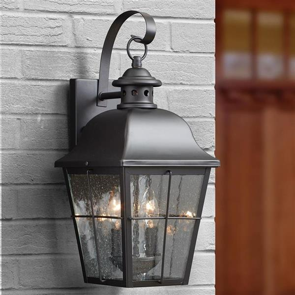 Quoizel Millhouse 18.5-in Mystic Black Candelabra Base Outdoor Wall Light