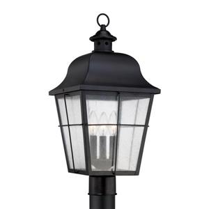 Quoizel 3-Light Millhouse 21.5-in Mystic Black Post Light