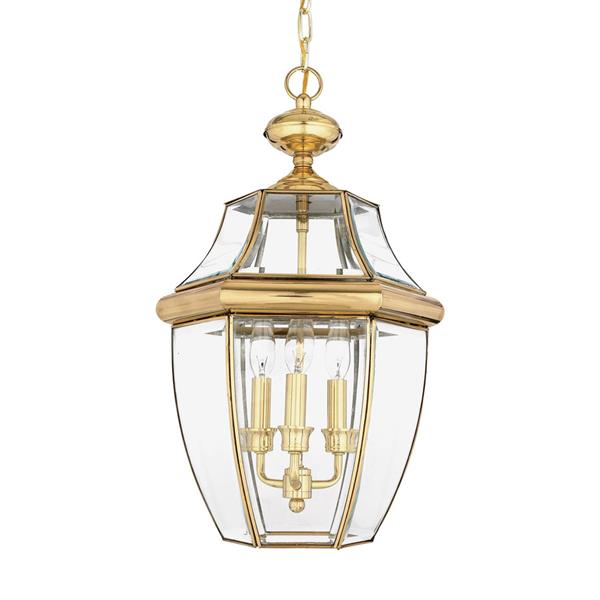 Quoizel Newbury Polished Brass Traditional Clear Glass Lantern Pendant