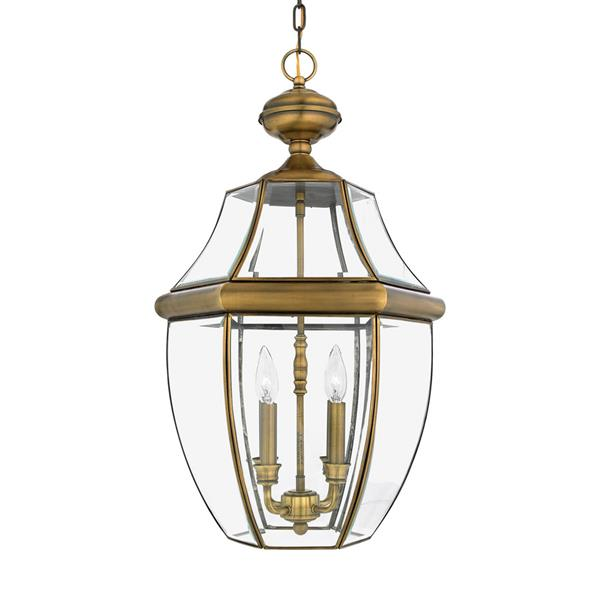 Quoizel Newbury Antique Brass Traditional Clear Glass Lantern Pendant