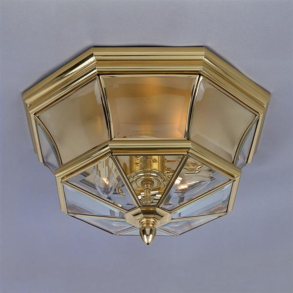 Quoizel Newbury 15-in Polished Brass 3-Light Outdoor Flush Mount Light