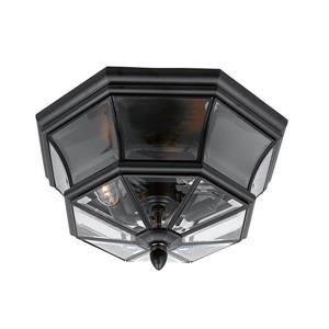 Quoizel Newbury 15.25-in Mystic Black 3-Light Outdoor Flush Mount Light