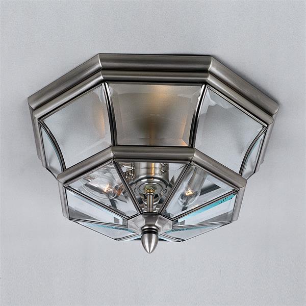 Quoizel Newbury 15.25-in Pewter 3-Light Outdoor Flush Mount Light