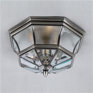 Quoizel Newbury 15.25-in Pewter 3-Light Outdoor Flush Mount Light