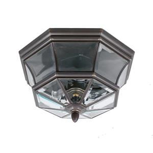 Quoizel Newbury 15.25-in Medici Bronze 3_Light Outdoor Flush-Mount Light