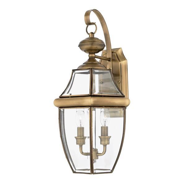 Quoizel Newbury 20-in Antique Brass Candelabra Base Outdoor Wall Light