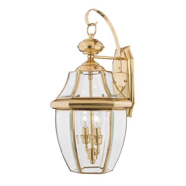 Quoizel Newbury 20-in Polished Brass 2-Light Outdoor Wall Light