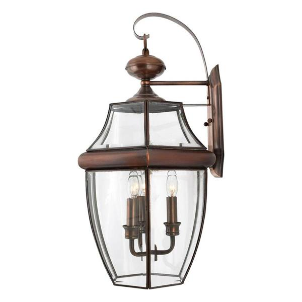 Quoizel Newbury 22.5-in Antique Brass Candelabra Base 3-Light Outdoor Wall Light