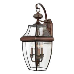 Quoizel Newbury 22.5-in Antique Brass Candelabra Base 3-Light Outdoor Wall Light