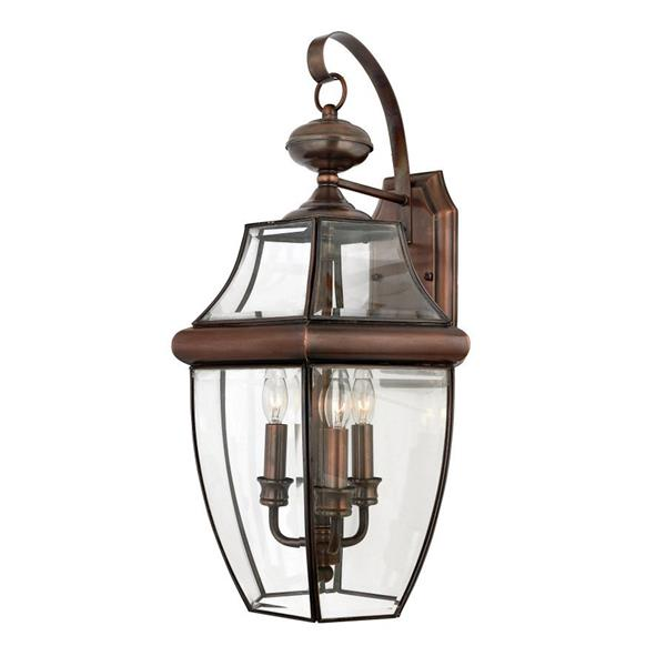Quoizel Newbury 22.5-in Aged Copper Candelabra Base 3-Light Outdoor Wall Light