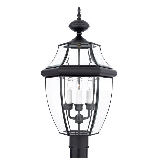 Quoizel 3-Light Newberry 23-in Mystic Black Post Light