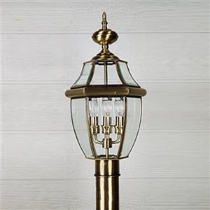 Quoizel 4-Light Newberry 29-in Antique BrassPost Light