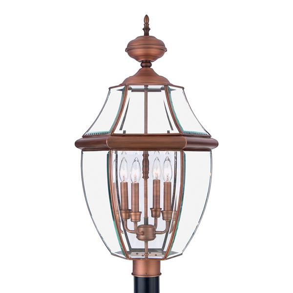 Quoizel 4-Light Newberry 30.5-in Aged CopperPost Light