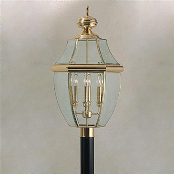 Quoizel 4-Light Newberry 29.5-in Polished Brass Post Light