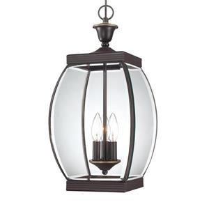 Quoizel Oasis Medici Bronze Transitional Clear Glass Lantern Pendant