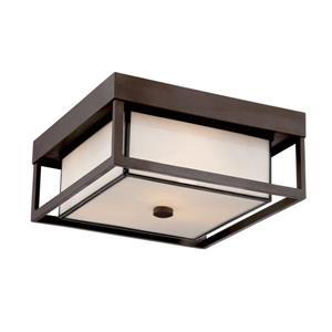Quoizel Powell 13-in Western Bronze 3-Light Outdoor Flush Mount Light
