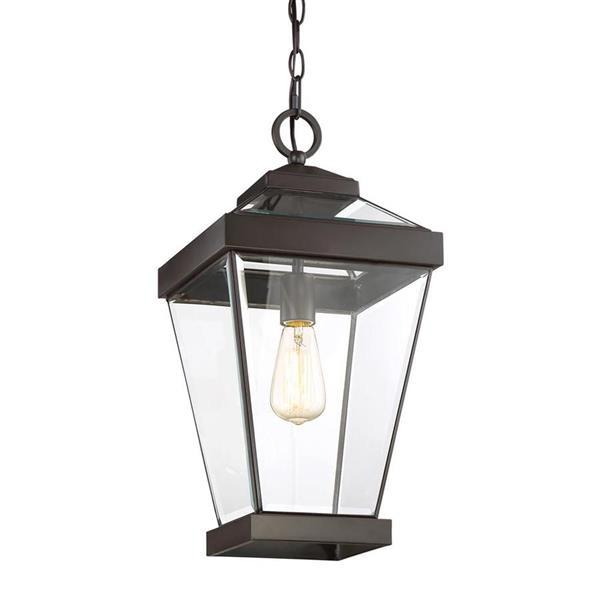 Quoizel Ravine Western Bronze Traditional Clear Glass Lantern Pendant