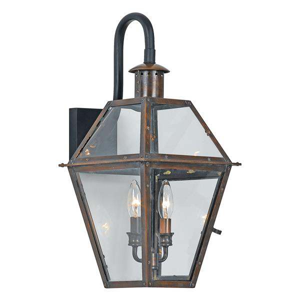 Quoizel Rue De Royal 22-in Aged Copper Candelabra Base Outdoor Wall Sconce