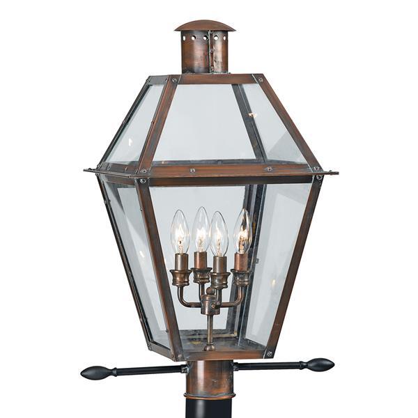 Quoizel 4-Light Rue De Royal 26-in Aged Copper Post Light