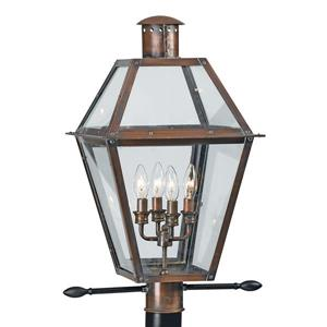 Quoizel 4-Light Rue De Royal 26-in Aged Copper Post Light