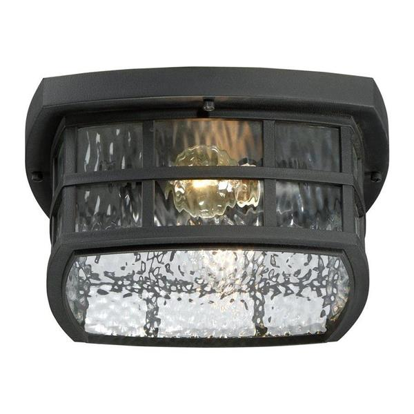 Quoizel Stonington 12-in Mystic Black 2-Light Outdoor Flush Mount Light