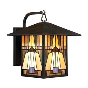 Quoizel Inglenook 14-in Single Light Tiffany Style Outdoor Wall Light