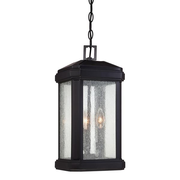 Quoizel Trumbull Mystic Black Traditional Seeded Glass Lantern Pendant