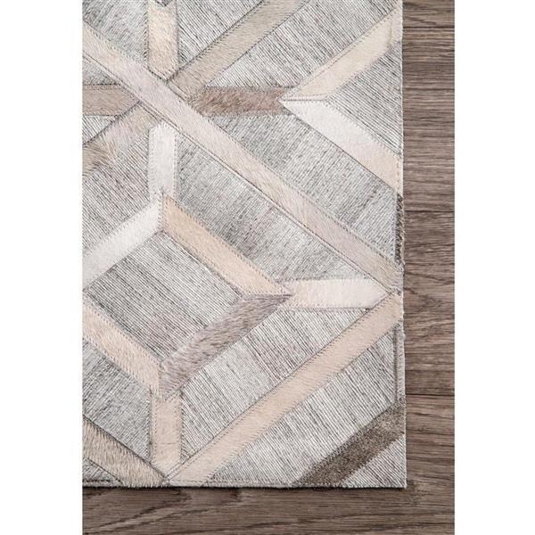 nuLOOM 5-ft x 8-ft Gray Rectangular Indoor Handcrafted Area Rug