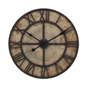 IMAX Worldwide Bryan Map Analog Round Indoor Wall Clock